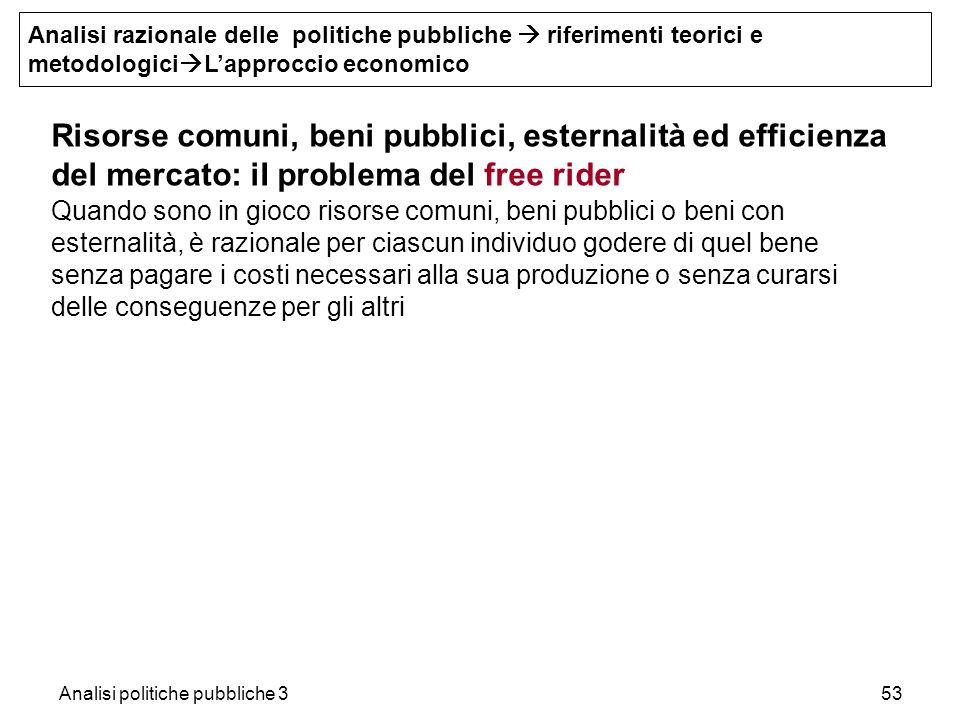 Analisi politiche pubbliche 353 Risorse comuni, beni pubblici, esternalità ed efficienza del mercato: iI problema del free rider Quando sono in gioco