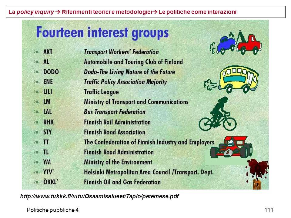 Politiche pubbliche 4111 http://www.tukkk.fi/tutu/Osaamisalueet/Tapio/petemese.pdf La policy inquiry Riferimenti teorici e metodologici Le politiche c