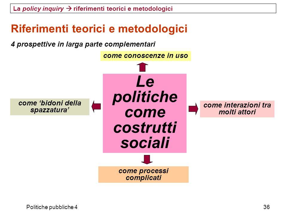 Politiche pubbliche 436 Riferimenti teorici e metodologici 4 prospettive in larga parte complementari La policy inquiry riferimenti teorici e metodolo
