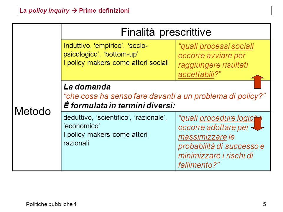 Politiche pubbliche 45 La policy inquiry Prime definizioni Metodo Finalità prescrittive Induttivo, empirico, socio- psicologico, bottom-up I policy ma