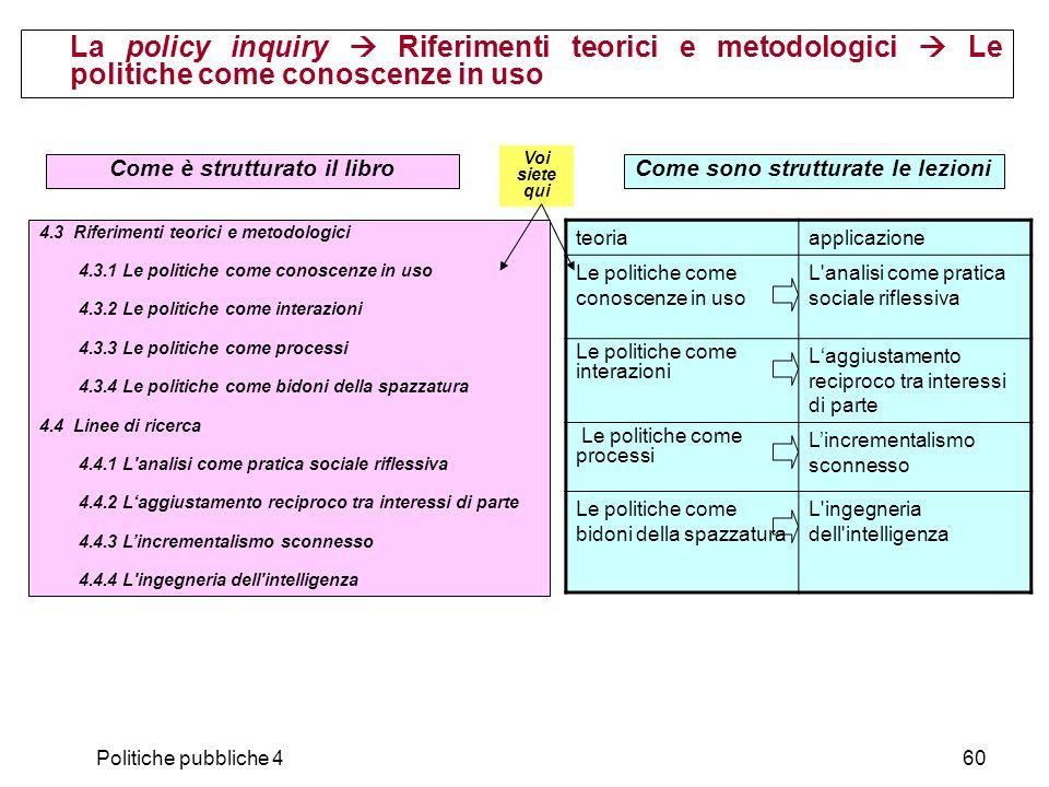 Politiche pubbliche 460 La policy inquiry Riferimenti teorici e metodologici Le politiche come conoscenze in uso 4.3 Riferimenti teorici e metodologic