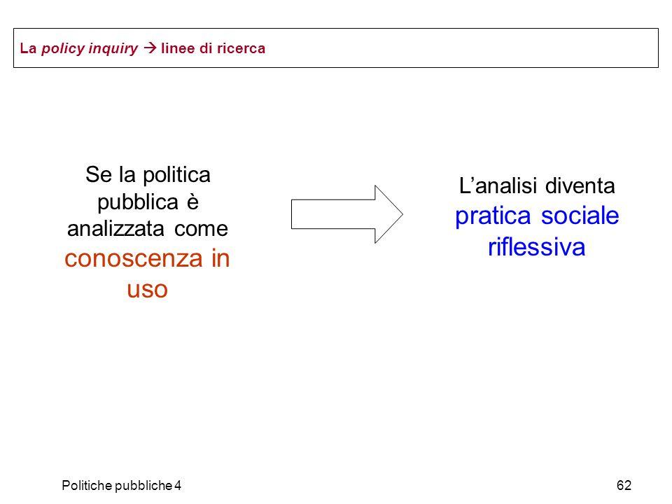 Politiche pubbliche 462 La policy inquiry linee di ricerca Se la politica pubblica è analizzata come conoscenza in uso Lanalisi diventa pratica social