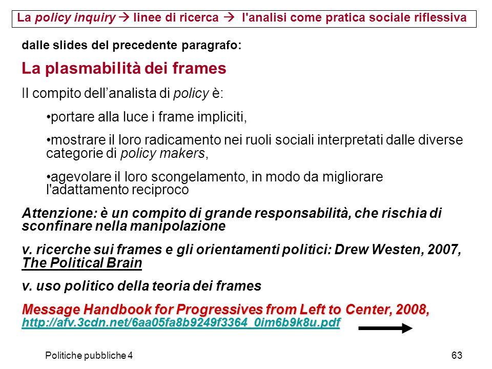 Politiche pubbliche 463 La policy inquiry linee di ricerca l'analisi come pratica sociale riflessiva dalle slides del precedente paragrafo: La plasmab