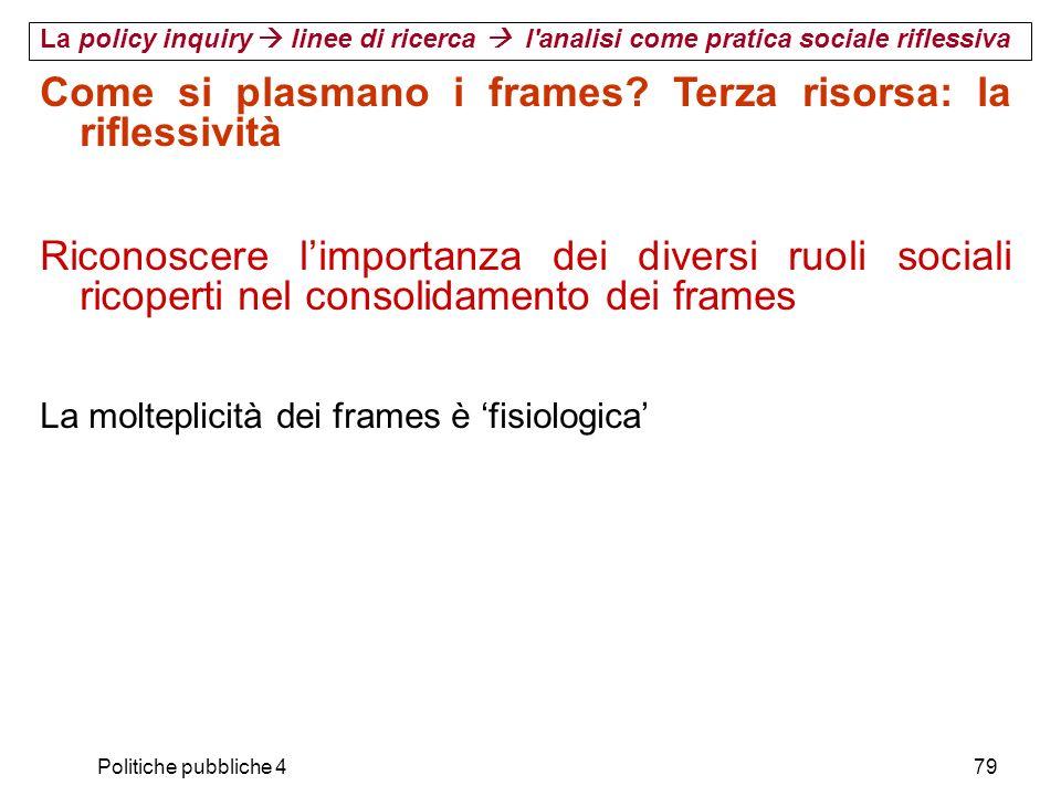 Politiche pubbliche 479 Come si plasmano i frames? Terza risorsa: la riflessività Riconoscere limportanza dei diversi ruoli sociali ricoperti nel cons