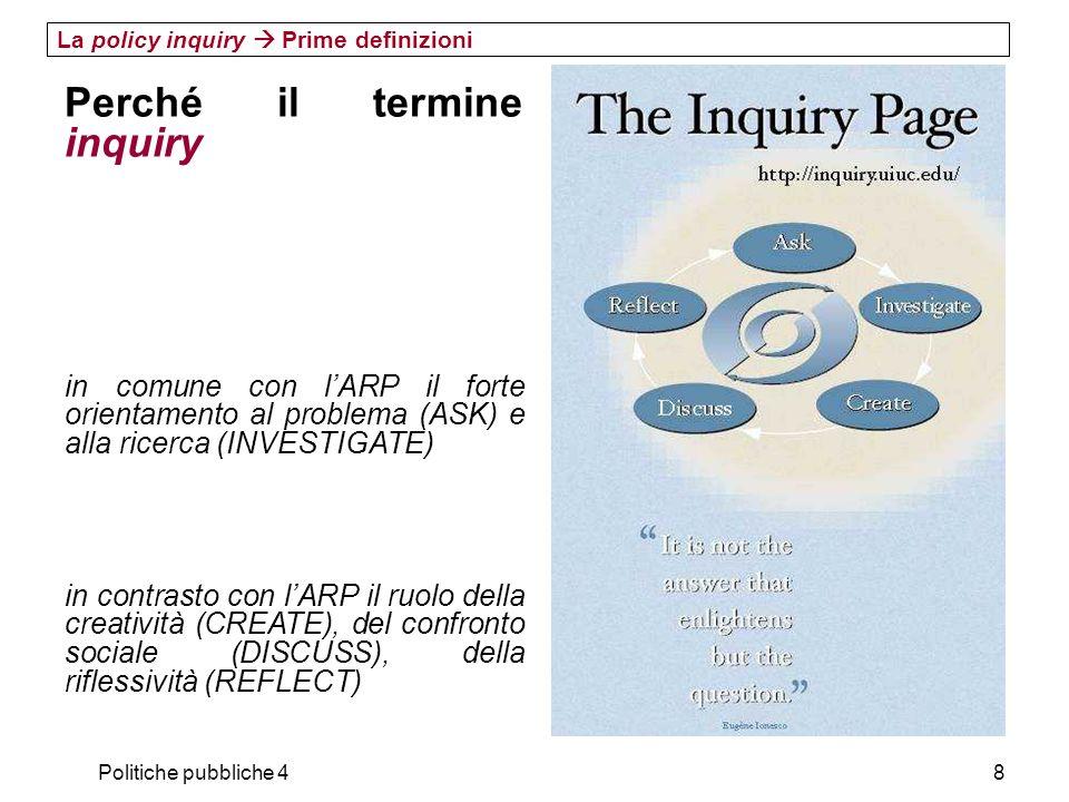 Politiche pubbliche 49 La policy inquiry Prime definizioni Perché il termine inquiry Inquiry è un termine molto usato e molto amato dai pragmatisti americani Dewey, intitola una delle sue opere maggiori Logic: the Theory of Inquiry (1938) Termini collegati: scoperta, esperienza, apprendimento collaborativo