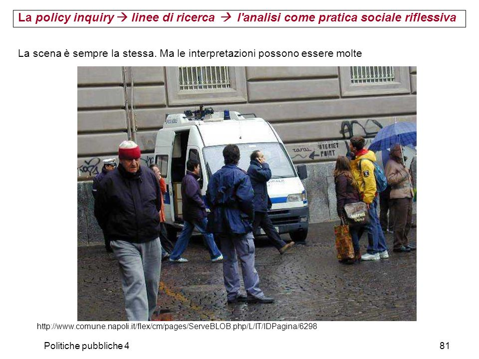 Politiche pubbliche 481 http://www.comune.napoli.it/flex/cm/pages/ServeBLOB.php/L/IT/IDPagina/6298 La scena è sempre la stessa. Ma le interpretazioni