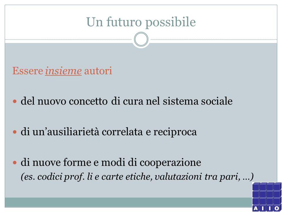 Un futuro possibile Essere insieme autori del nuovo concetto di cura nel sistema sociale di unausiliarietà correlata e reciproca di nuove forme e modi