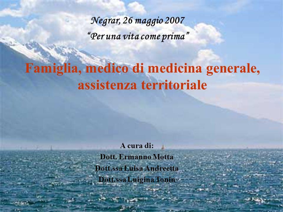 Negrar, 26 maggio 2007 Per una vita come prima Famiglia, medico di medicina generale, assistenza territoriale A cura di: Dott. Ermanno Motta Dott.ssa
