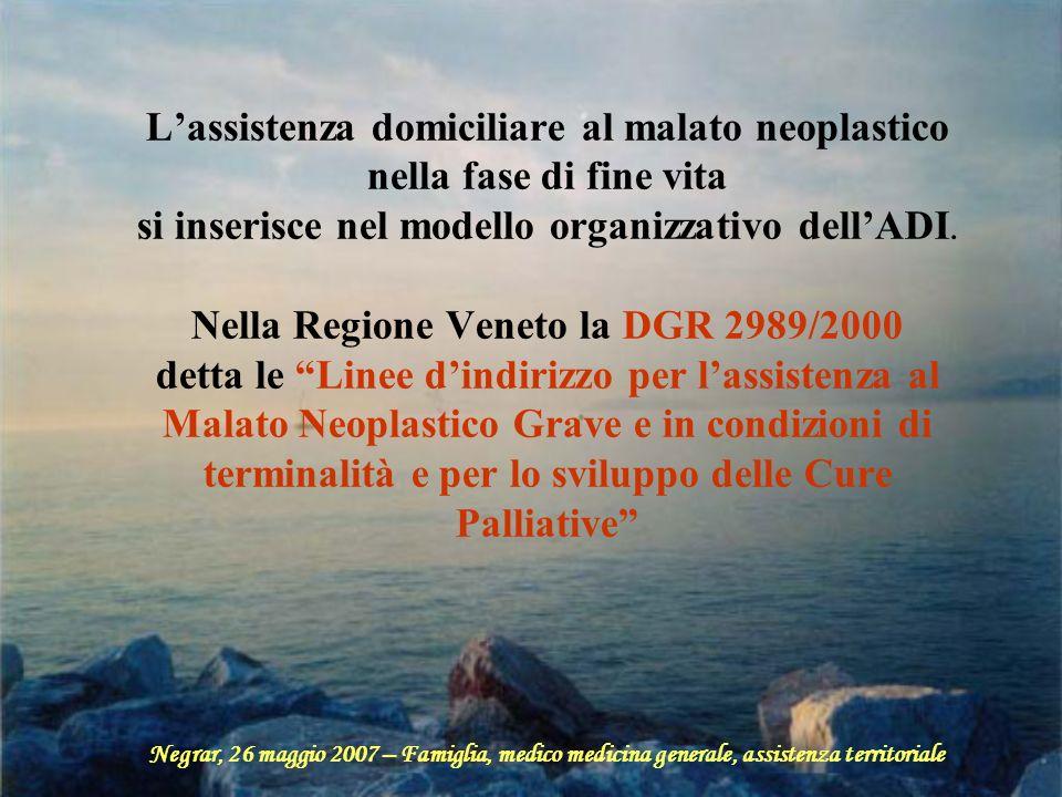 Lassistenza domiciliare al malato neoplastico nella fase di fine vita si inserisce nel modello organizzativo dellADI. Nella Regione Veneto la DGR 2989