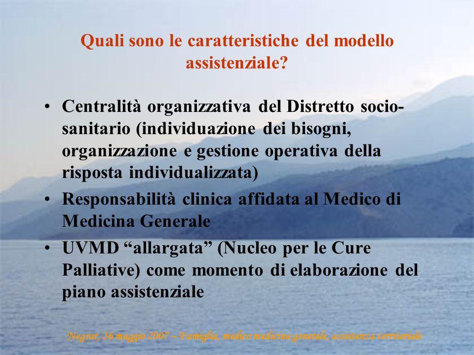 Quali sono le caratteristiche del modello assistenziale? Centralità organizzativa del Distretto socio- sanitario (individuazione dei bisogni, organizz