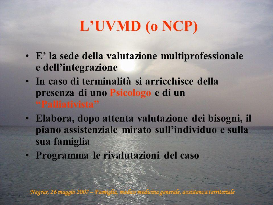 LUVMD (o NCP) E la sede della valutazione multiprofessionale e dellintegrazione In caso di terminalità si arricchisce della presenza di uno Psicologo