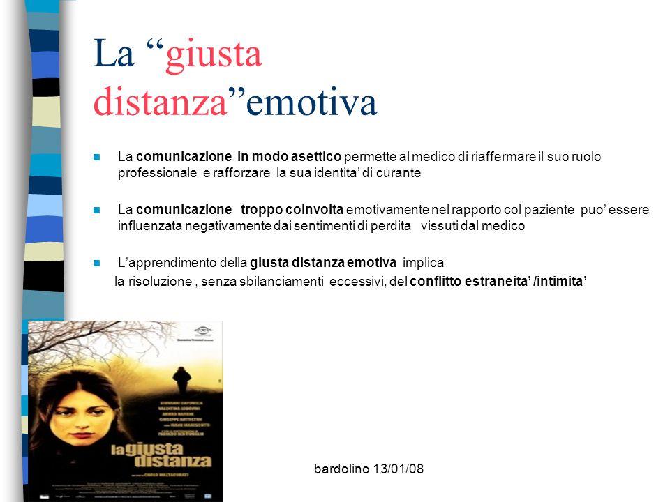 bardolino 13/01/08 La giusta distanzaemotiva La comunicazione in modo asettico permette al medico di riaffermare il suo ruolo professionale e rafforza