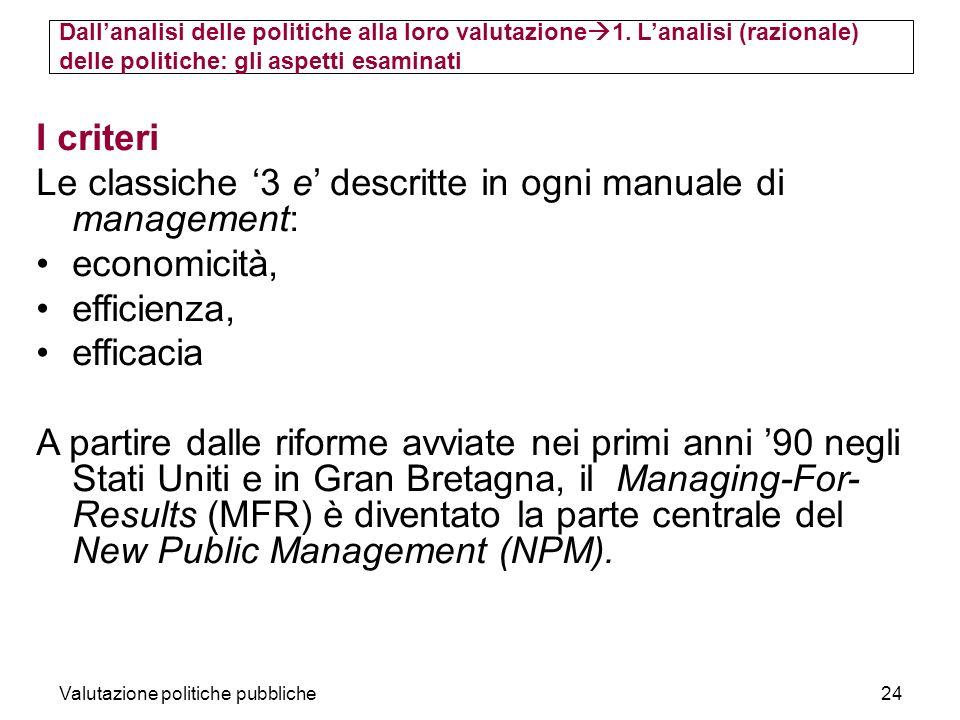 Valutazione politiche pubbliche24 I criteri Le classiche 3 e descritte in ogni manuale di management: economicità, efficienza, efficacia A partire dalle riforme avviate nei primi anni 90 negli Stati Uniti e in Gran Bretagna, il Managing-For- Results (MFR) è diventato la parte centrale del New Public Management (NPM).