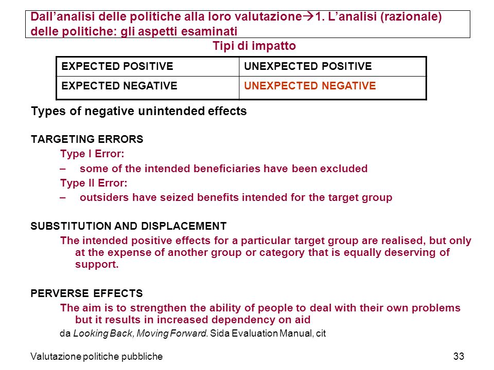 Valutazione politiche pubbliche33 Tipi di impatto Types of negative unintended effects TARGETING ERRORS Type I Error: –some of the intended beneficiar