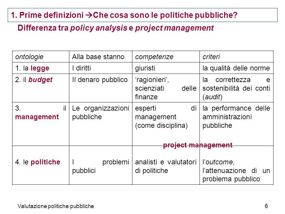 Valutazione politiche pubbliche6 Differenza tra policy analysis e project management 1.
