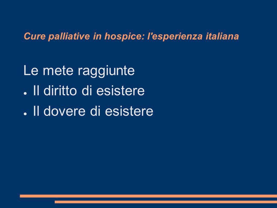 Cure palliative in hospice: l'esperienza italiana Le mete raggiunte Il diritto di esistere Il dovere di esistere
