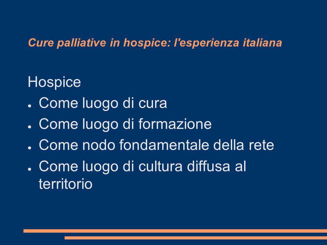 Cure palliative in hospice: l'esperienza italiana Hospice Come luogo di cura Come luogo di formazione Come nodo fondamentale della rete Come luogo di