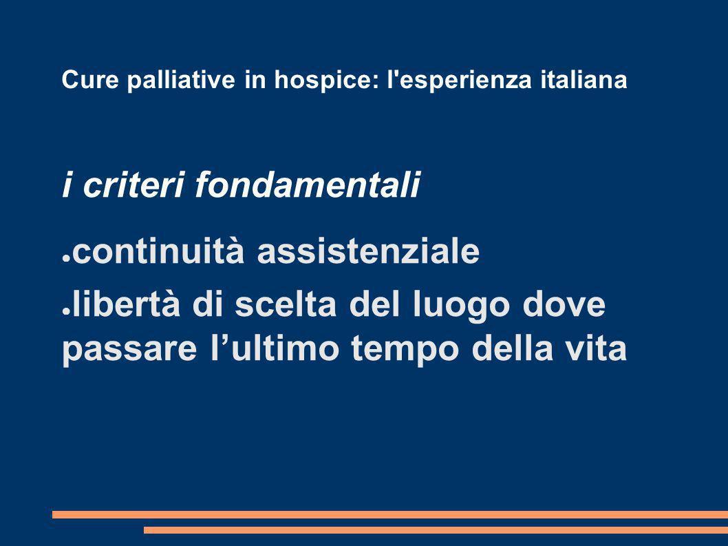 Cure palliative in hospice: l'esperienza italiana i criteri fondamentali continuità assistenziale libertà di scelta del luogo dove passare lultimo tem