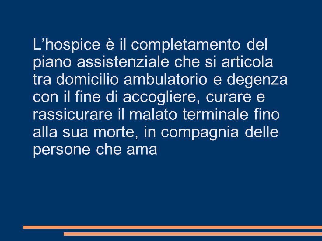 Lhospice è il completamento del piano assistenziale che si articola tra domicilio ambulatorio e degenza con il fine di accogliere, curare e rassicurar