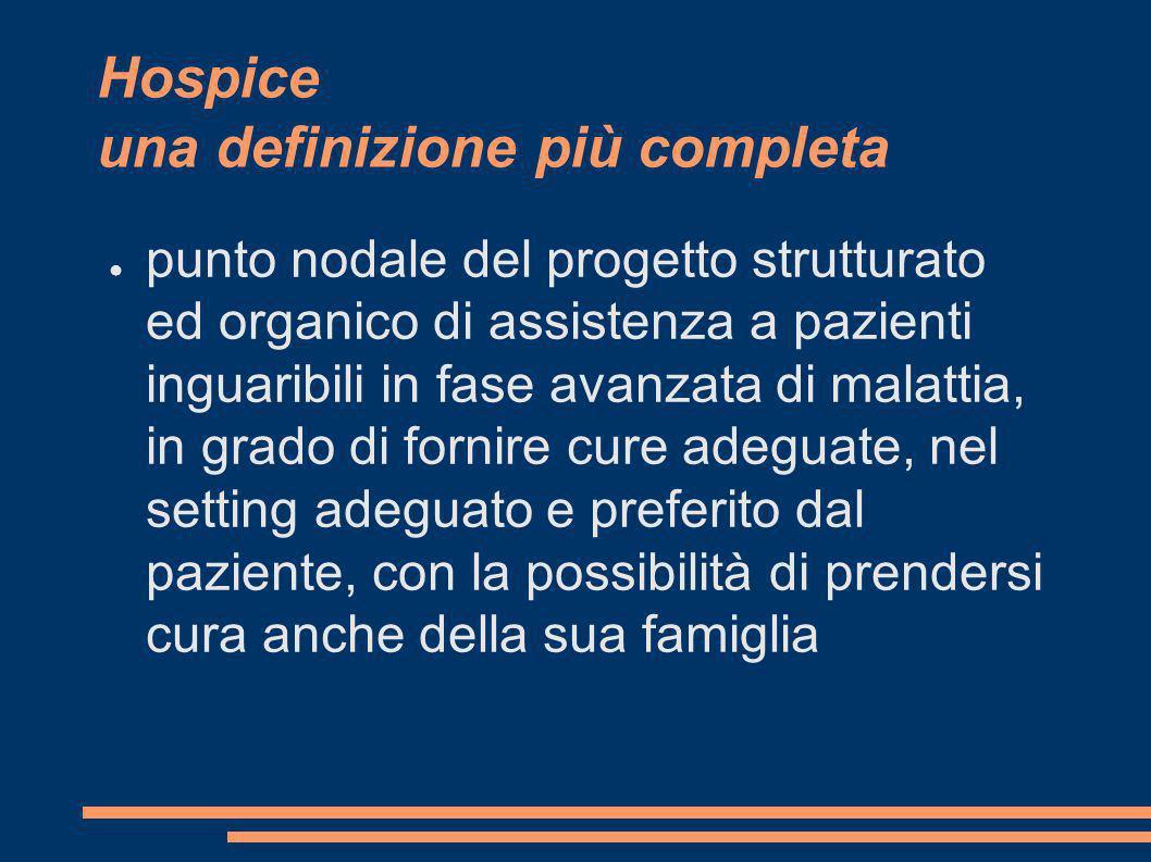 Hospice una definizione più completa punto nodale del progetto strutturato ed organico di assistenza a pazienti inguaribili in fase avanzata di malatt