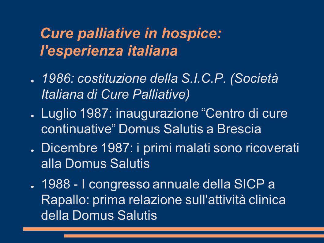 Cure palliative in hospice: l'esperienza italiana 1986: costituzione della S.I.C.P. (Società Italiana di Cure Palliative) Luglio 1987: inaugurazione C