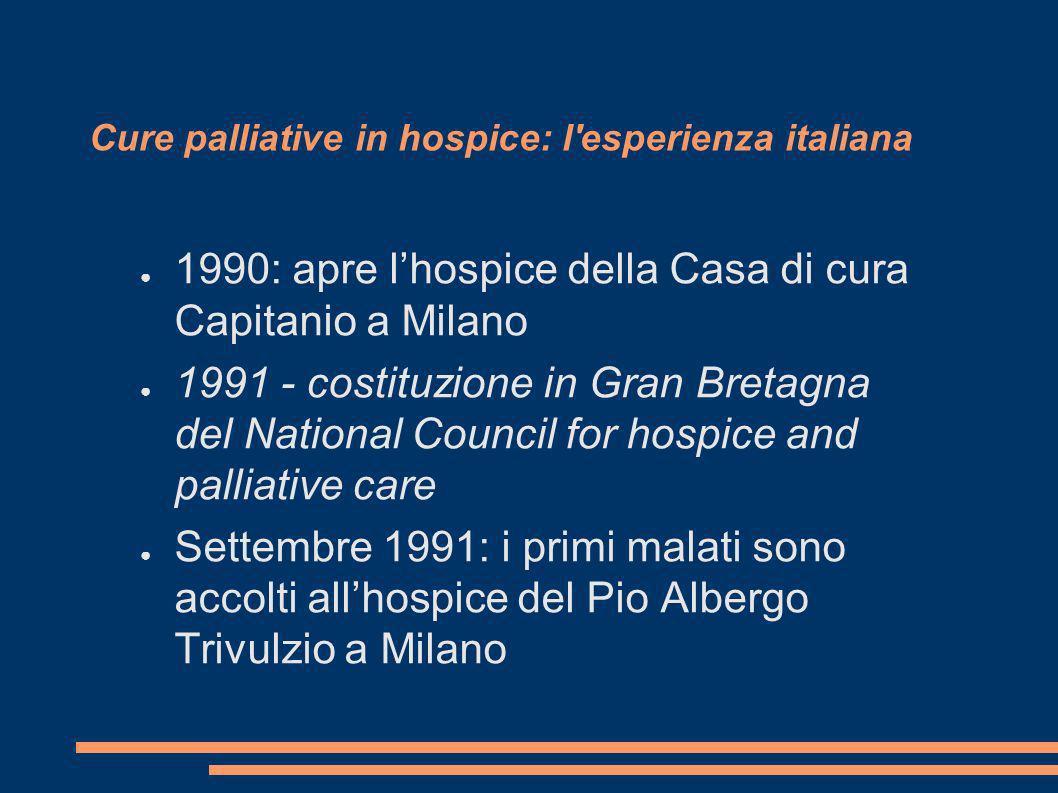 Cure palliative in hospice: l'esperienza italiana 1990: apre lhospice della Casa di cura Capitanio a Milano 1991 - costituzione in Gran Bretagna del N