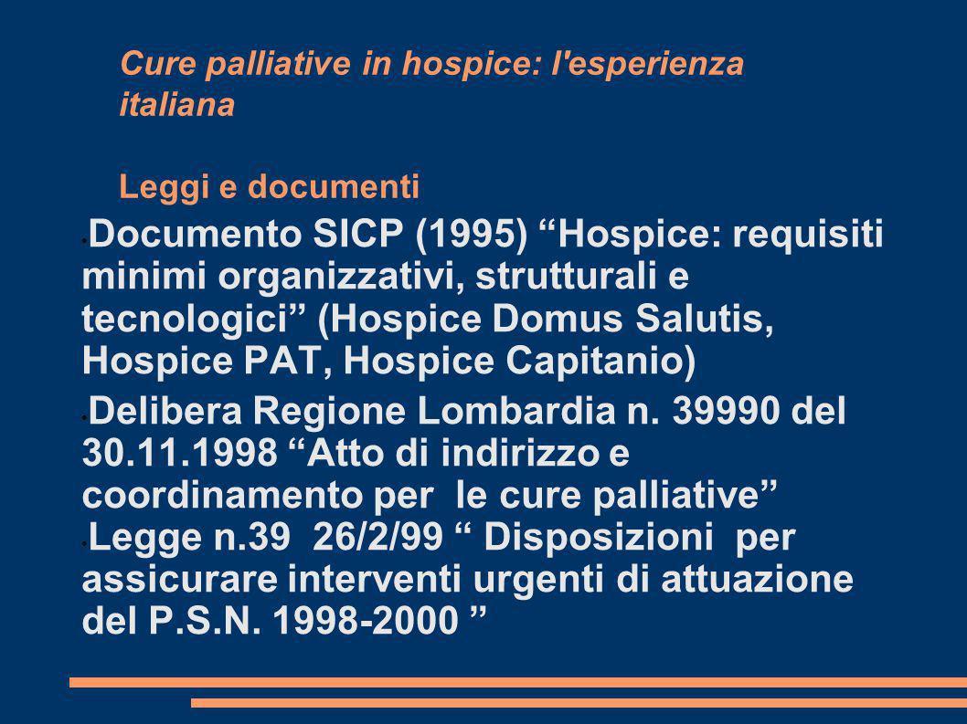 Cure palliative in hospice: l'esperienza italiana Leggi e documenti Documento SICP (1995) Hospice: requisiti minimi organizzativi, strutturali e tecno