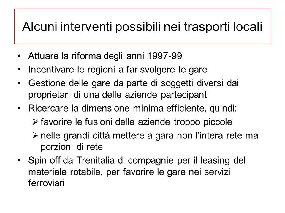 Alcuni interventi possibili nei trasporti locali Attuare la riforma degli anni 1997-99 Incentivare le regioni a far svolgere le gare Gestione delle ga