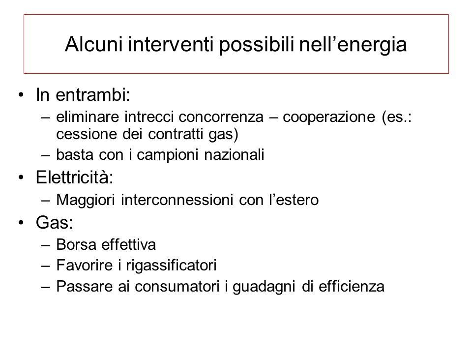 Alcuni interventi possibili nellenergia In entrambi: –eliminare intrecci concorrenza – cooperazione (es.: cessione dei contratti gas) –basta con i cam