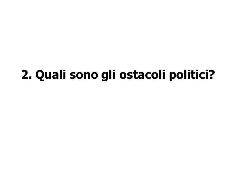 2. Quali sono gli ostacoli politici?