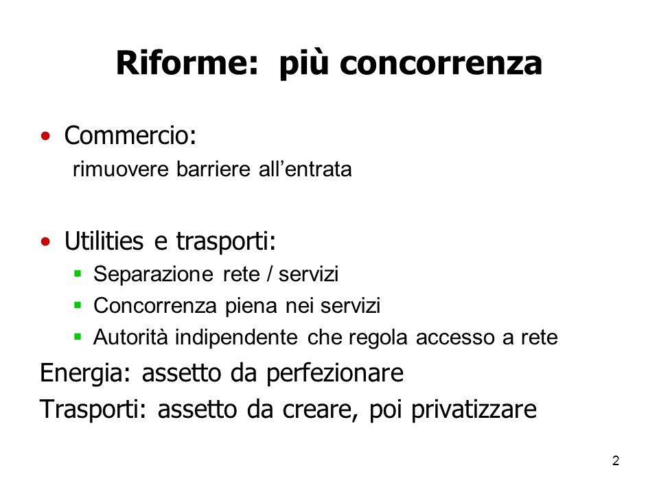 3 Tre commenti 1.Quanto è importante liberalizzare I servizi Questi servizi (energia, trasporti e commercio) 2.Quali sono gli ostacoli politici 3.Come superarli