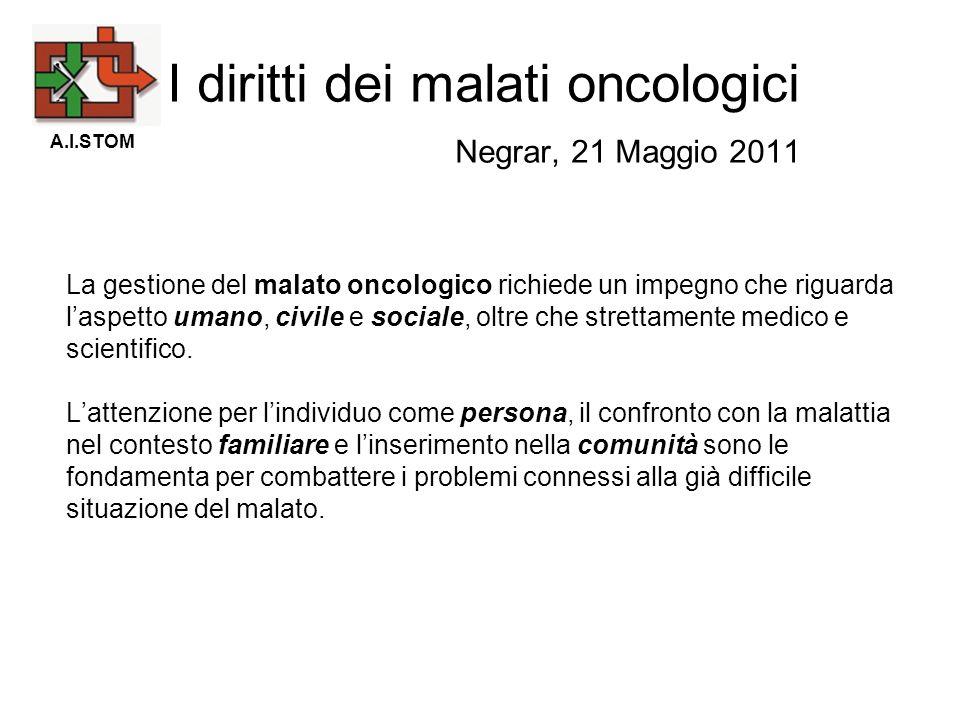 La gestione del malato oncologico richiede un impegno che riguarda laspetto umano, civile e sociale, oltre che strettamente medico e scientifico. Latt
