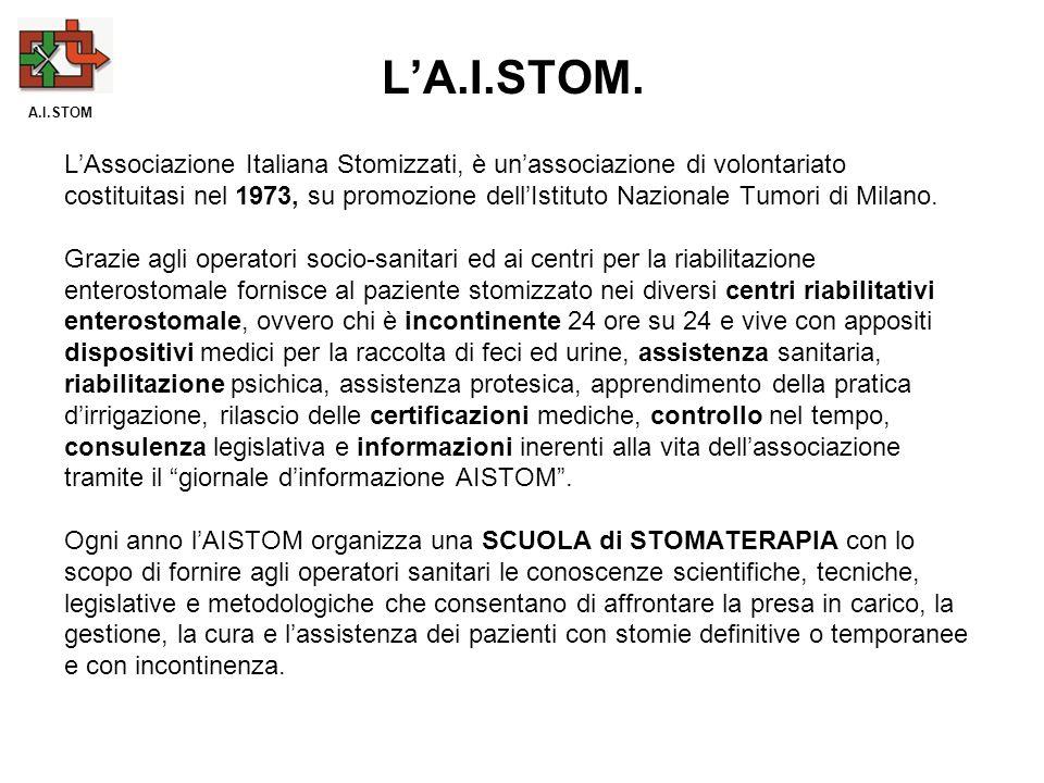 LAssociazione Italiana Stomizzati, è unassociazione di volontariato costituitasi nel 1973, su promozione dellIstituto Nazionale Tumori di Milano. Graz