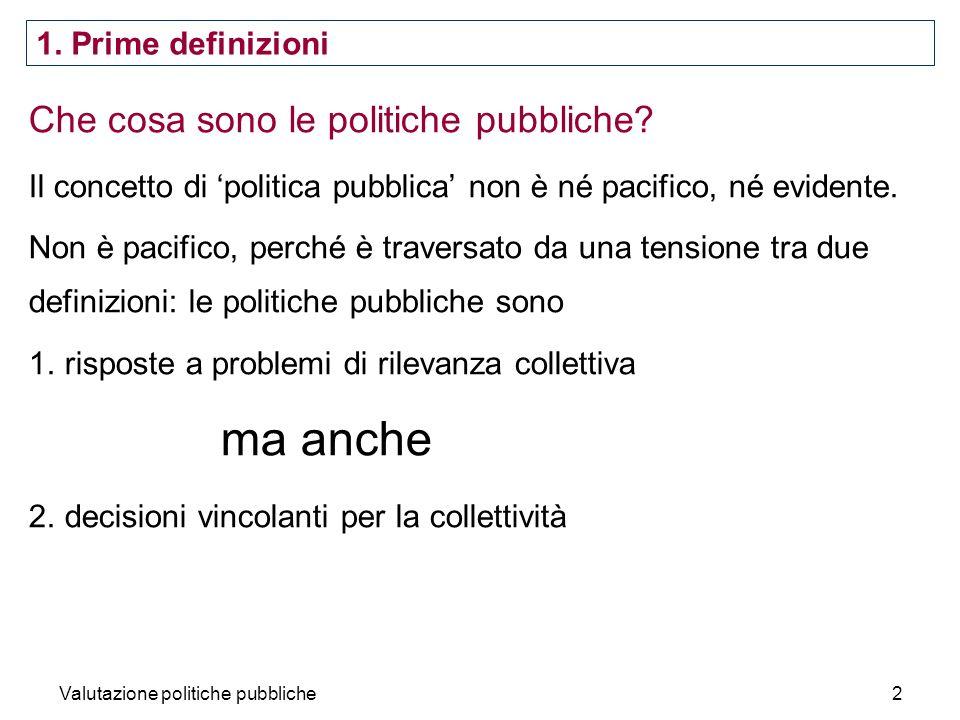 Valutazione politiche pubbliche2 Che cosa sono le politiche pubbliche? Il concetto di politica pubblica non è né pacifico, né evidente. Non è pacifico