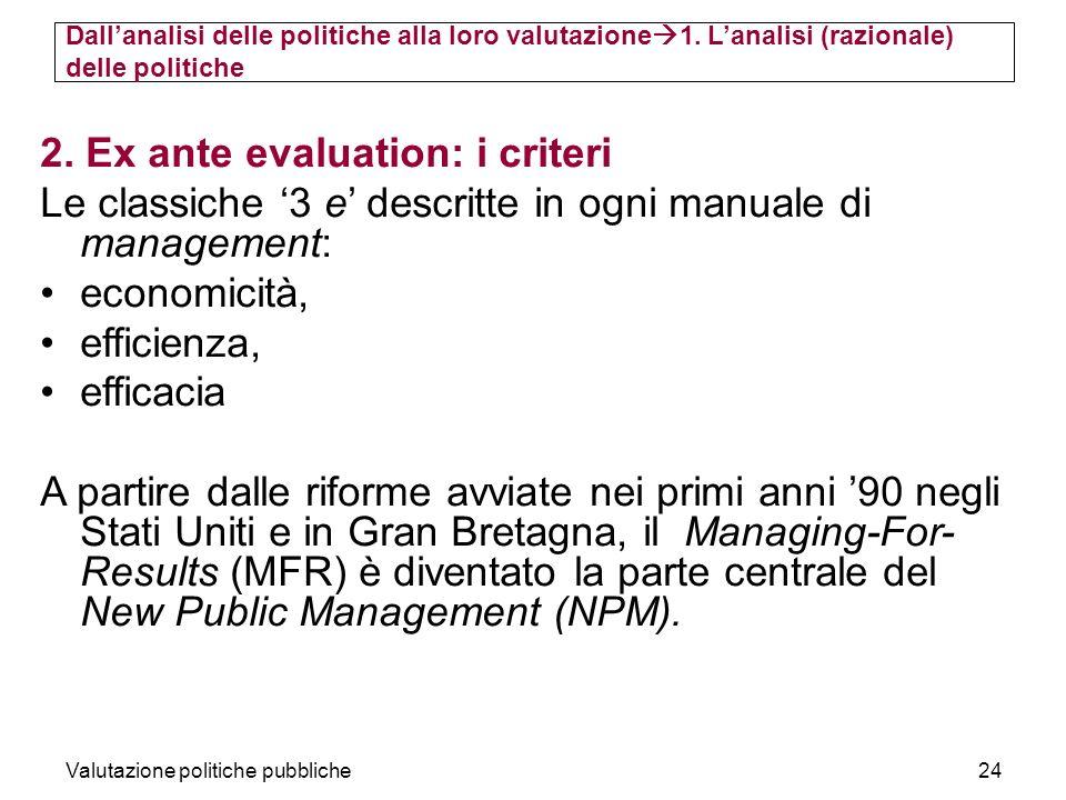 Valutazione politiche pubbliche24 2. Ex ante evaluation: i criteri Le classiche 3 e descritte in ogni manuale di management: economicità, efficienza,