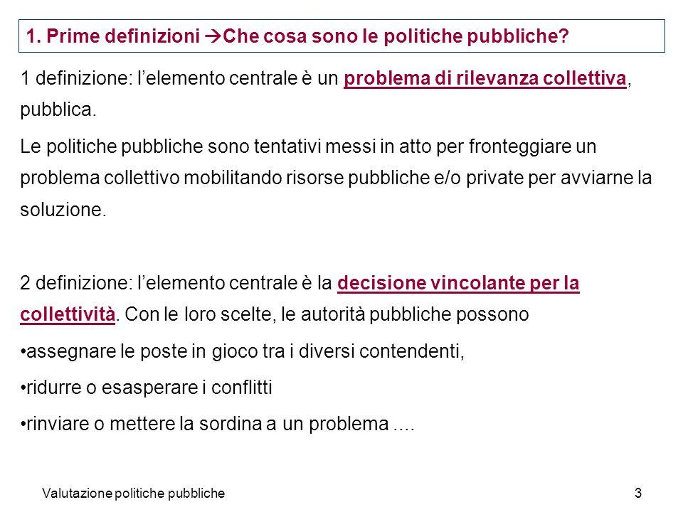 Valutazione politiche pubbliche3 1 definizione: lelemento centrale è un problema di rilevanza collettiva, pubblica. Le politiche pubbliche sono tentat