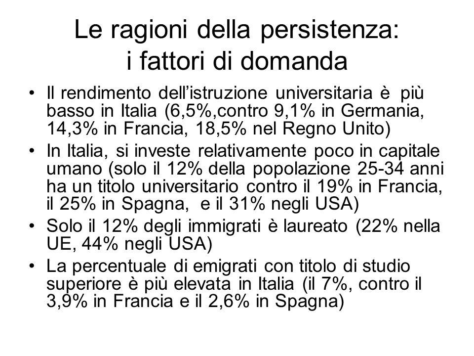 Le ragioni della persistenza: i fattori di domanda Il rendimento dellistruzione universitaria è più basso in Italia (6,5%,contro 9,1% in Germania, 14,