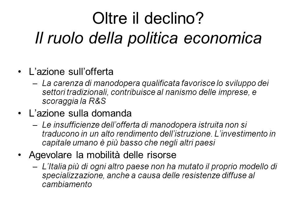 Oltre il declino? Il ruolo della politica economica Lazione sullofferta –La carenza di manodopera qualificata favorisce lo sviluppo dei settori tradiz