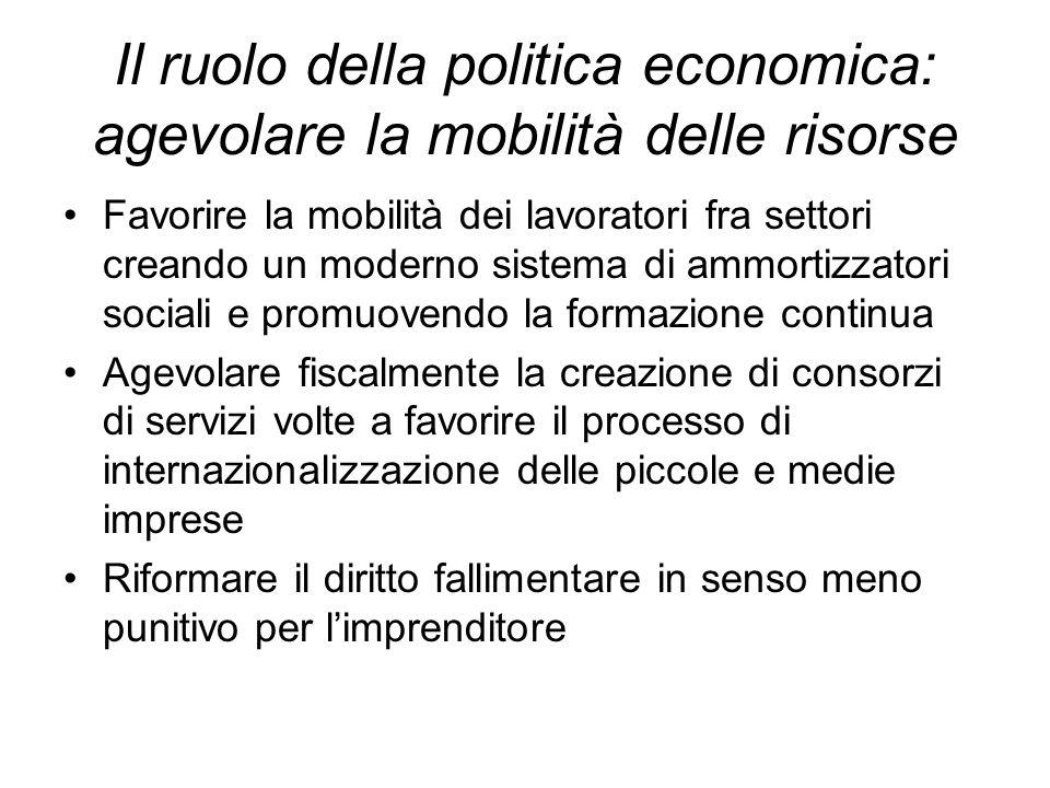Il ruolo della politica economica: agevolare la mobilità delle risorse Favorire la mobilità dei lavoratori fra settori creando un moderno sistema di a
