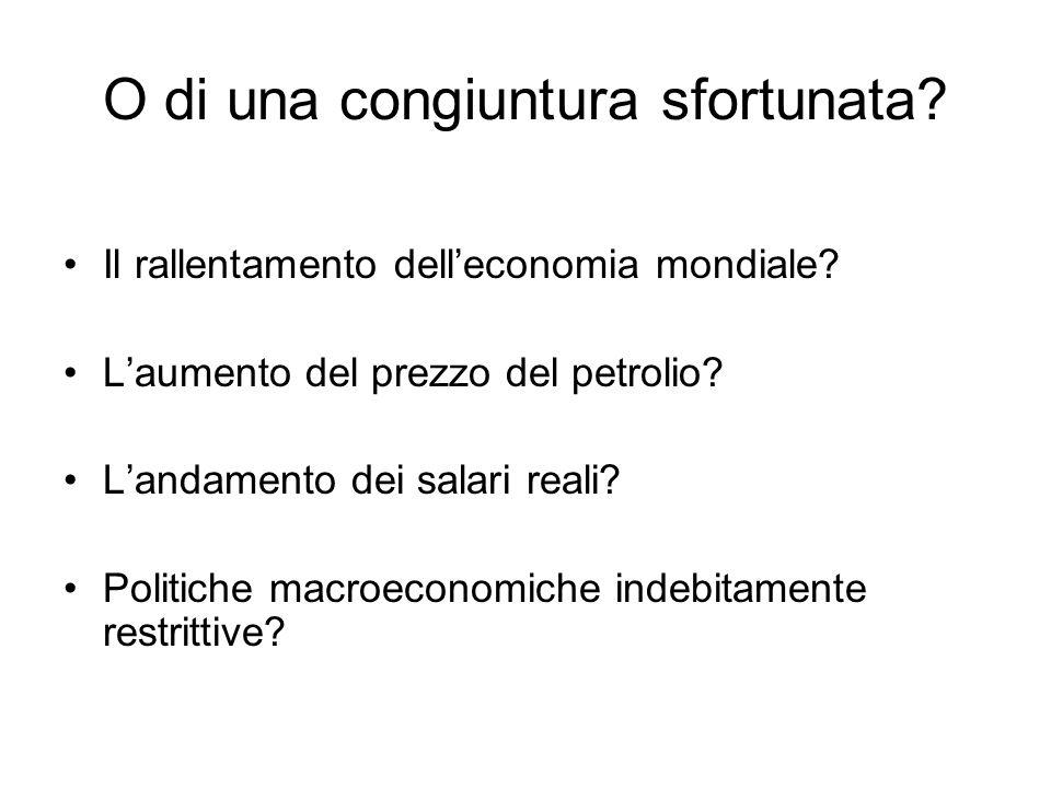 O di una congiuntura sfortunata? Il rallentamento delleconomia mondiale? Laumento del prezzo del petrolio? Landamento dei salari reali? Politiche macr
