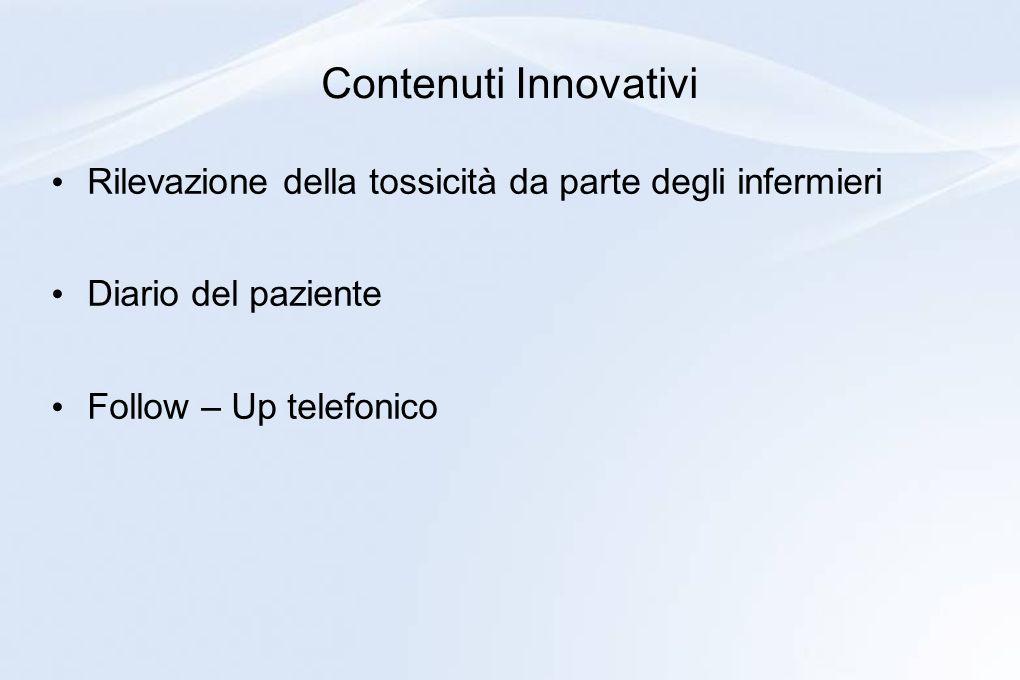 Contenuti Innovativi Rilevazione della tossicità da parte degli infermieri Diario del paziente Follow – Up telefonico