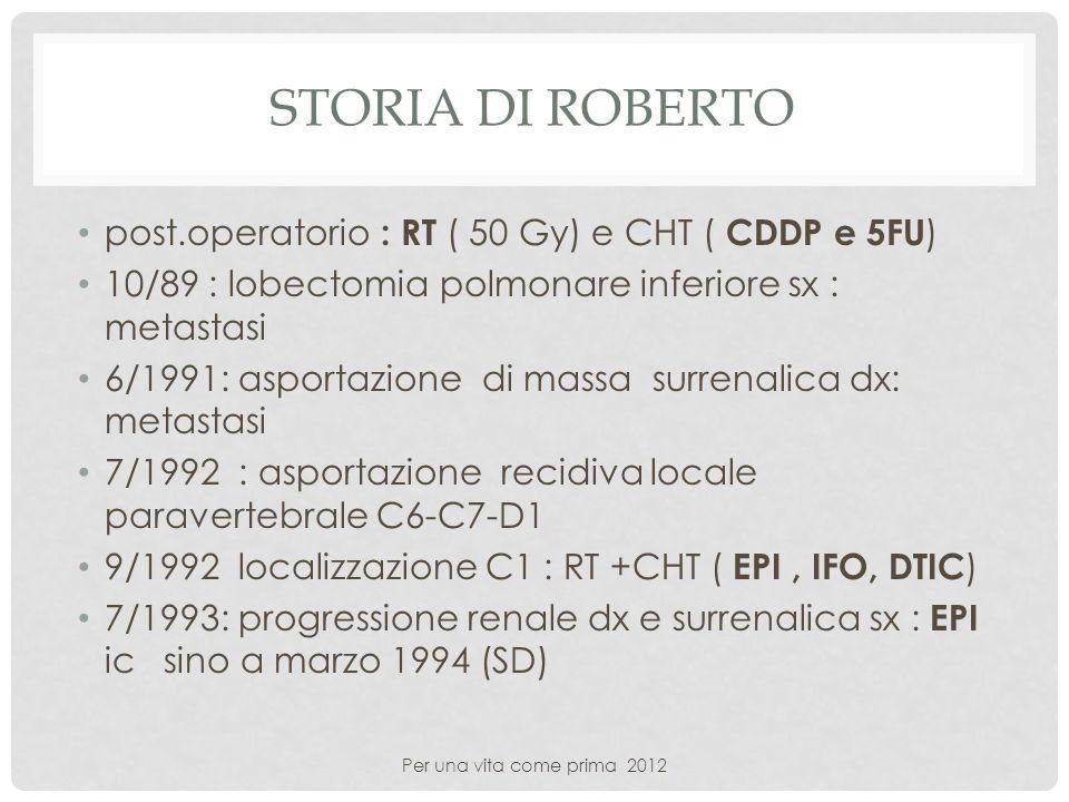 STORIA DI ROBERTO post.operatorio : RT ( 50 Gy) e CHT ( CDDP e 5FU ) 10/89 : lobectomia polmonare inferiore sx : metastasi 6/1991: asportazione di mas