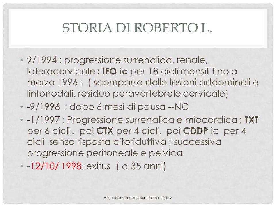 STORIA DI ROBERTO L. 9/1994 : progressione surrenalica, renale, laterocervicale : IFO ic per 18 cicli mensili fino a marzo 1996 : ( scomparsa delle le