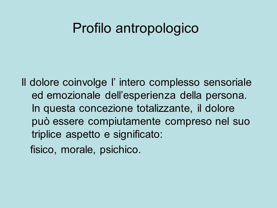 Profilo antropologico Il dolore coinvolge l intero complesso sensoriale ed emozionale dellesperienza della persona. In questa concezione totalizzante,