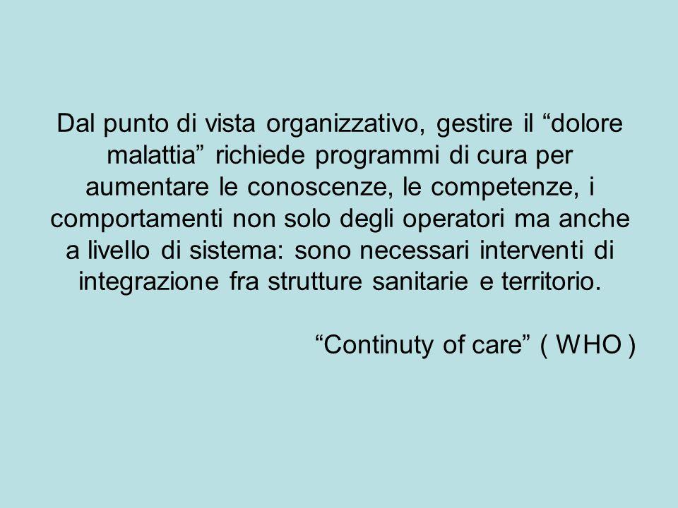 Dal punto di vista organizzativo, gestire il dolore malattia richiede programmi di cura per aumentare le conoscenze, le competenze, i comportamenti no