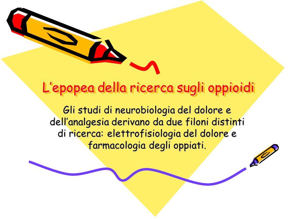 Lepopea della ricerca sugli oppioidi Gli studi di neurobiologia del dolore e dellanalgesia derivano da due filoni distinti di ricerca: elettrofisiolog