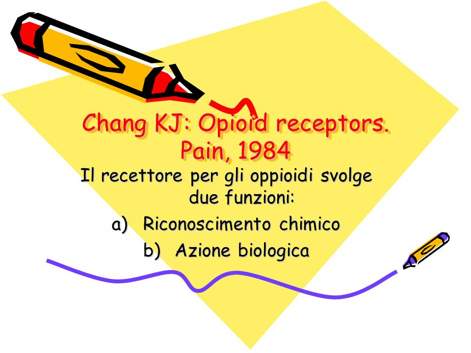 Chang KJ: Opioid receptors. Pain, 1984 Il recettore per gli oppioidi svolge due funzioni: a)Riconoscimento chimico b)Azione biologica