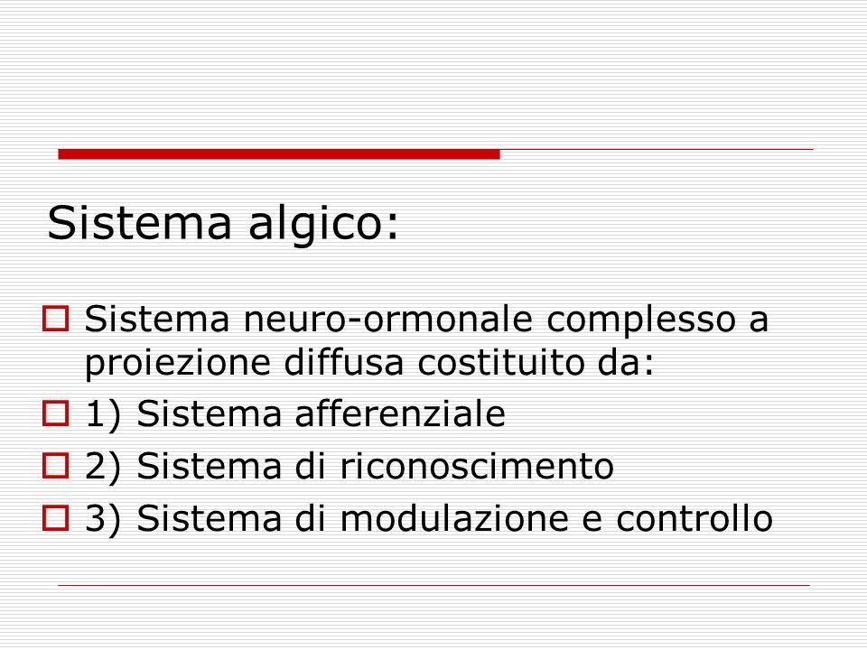 Sistema algico: Sistema neuro-ormonale complesso a proiezione diffusa costituito da: 1) Sistema afferenziale 2) Sistema di riconoscimento 3) Sistema d