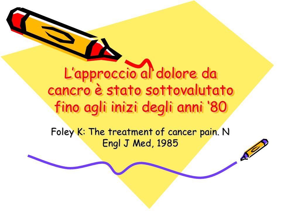 Lapproccio al dolore da cancro è stato sottovalutato fino agli inizi degli anni 80 Foley K: The treatment of cancer pain. N Engl J Med, 1985
