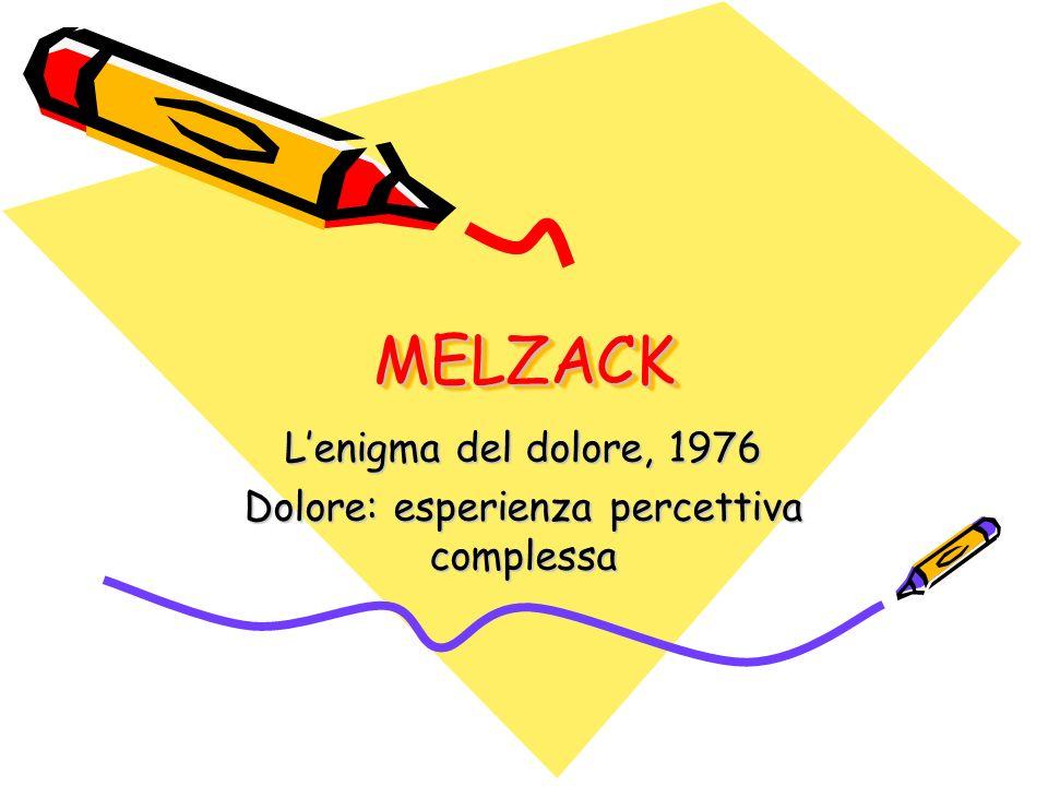 MELZACKMELZACK Lenigma del dolore, 1976 Dolore: esperienza percettiva complessa